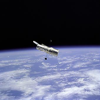 Hubble Telescope - Space Telescope and Earth Limb Poster Print Giclee