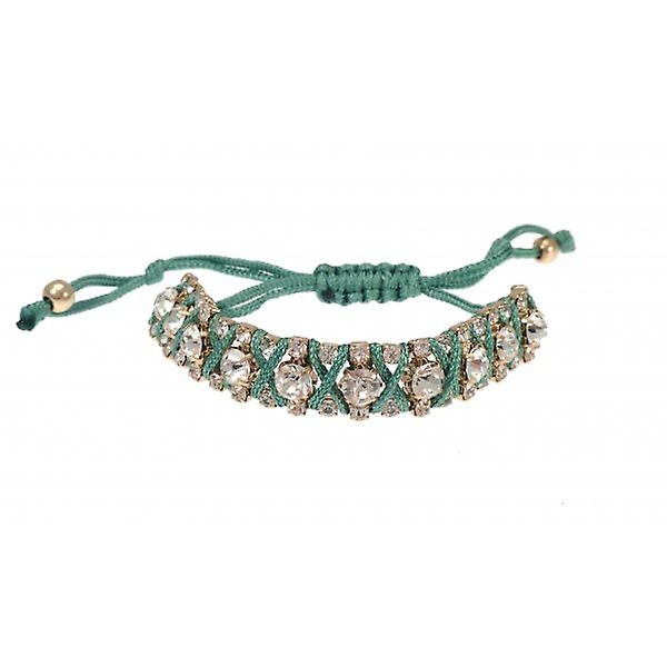 W.A.T Green Macrame Cord And Crystal Friendship Bracelet