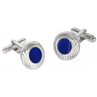 Duncan Walton Sulston Rhodium Plated Grooved Resin Cufflinks - Blue/Silver