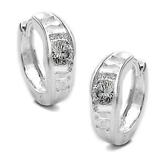 Silver Creole Creole with pattern partially frosted white cubic zirconia sterling silver