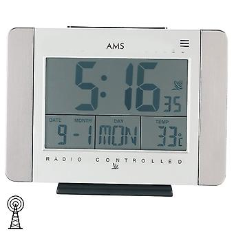 Radiostyret ur bord ur wall clock radio display tid dato dag temperatur