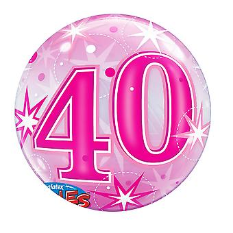 Qualatex 22 Inch 40th Birthday Pink Starburst Bubble Balloon
