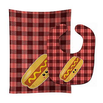 Carolines Treasures  BB7045STBU Hot Dog Face Baby Bib & Burp Cloth