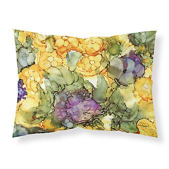 抽象的な花の紫と黄色の生地の標準的な枕