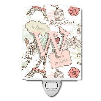 Carolines schatten CJ2002-WCNL Letter W liefde in Parijs keramische roze nachtlampje