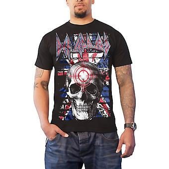 Def Leppard T Shirt Union Jack Skull band logo nye officielle Herre sort
