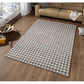 Design velour carpet high-deep effect Houndstooth grey cream | 102283