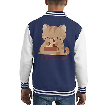 Kitty Is Only Here For The Pizza Kid's Varsity Jacket