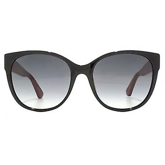 Gucci Bee Logo Cateye Sunglasses In Black Red
