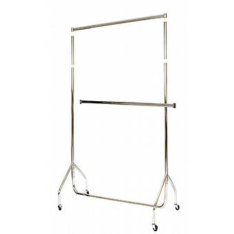 4'Chrome Extended Garment Rail with 15 Extension Pieces & Centre Rail