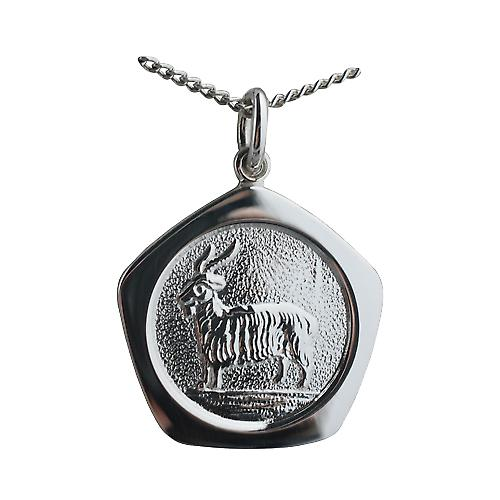 Silver 21mm five sided Capricorn Zodiac Pendant with a curb Chain 24 inches