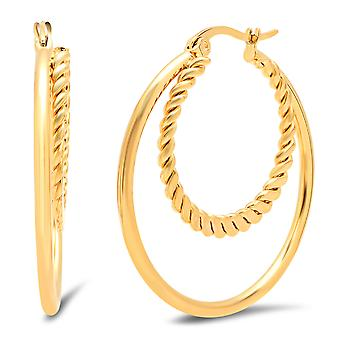 Ladies 18K Gold Plated Double Layer Braided Hoop Earrings
