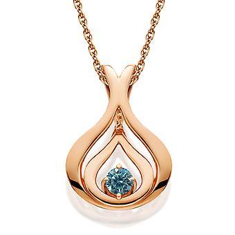 Blue Diamond Solitaire Pendant & Chain 14k Rose Gold 5/8