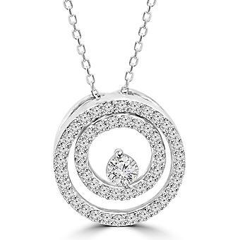 1/2 Ct алмазов двойной круг пасьянс Кулон 14K Белое золото 18