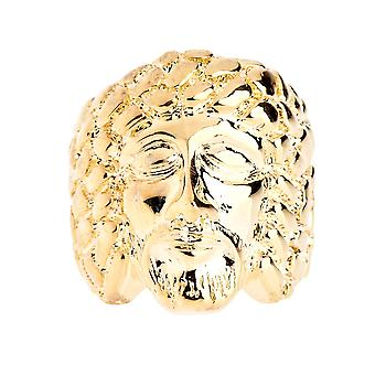 Iced out bling hip hop designer ring - JESUS NUGGET gold
