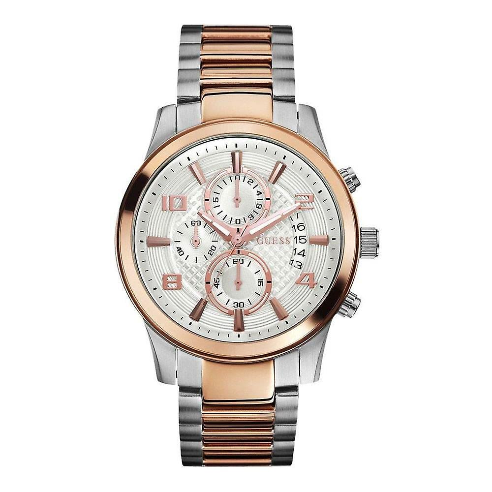 GUESS Mens Watch Exec Chronograph Silver And Rose Gold W0075G2