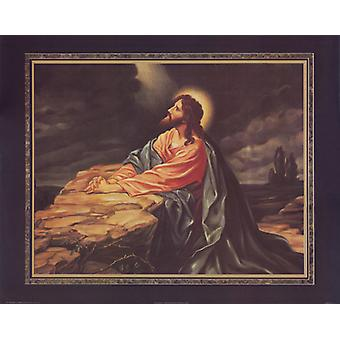 Jesus Praying Poster Print by Thomas L Cathey Collection (28 x 22)