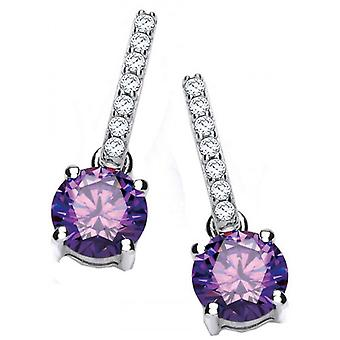 Cavendish French Round Zirconia Solitaire Drop Earrings - Silver/Purple