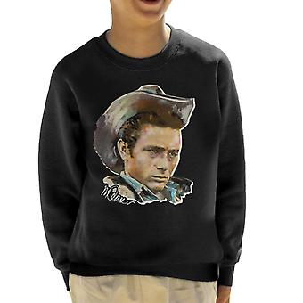 Sidney Maurer Original Portrait Of James Dean Cowboy Hat Kid's Sweatshirt