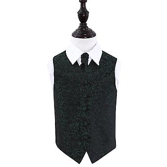 Schwarzen & grüne Wirbel Hochzeit Weste & Krawatte Set für jungen