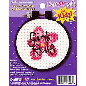 Leren-A-Craft Girls Rule geteld Cross Stitch Kit-3