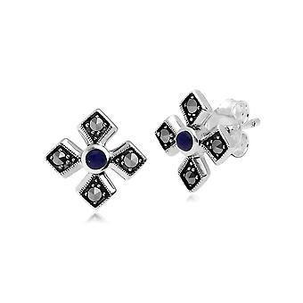 Gemondo Sterling Silver Marcasite & Lapis Lazuli Earring