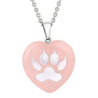 Amulet ulv pote mod magiske kræfter beskyttelse energi rosenkvarts oppustede hjerte vedhæng halskæde