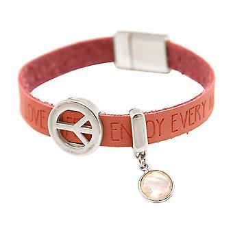 Gemshine Damen Armband Frieden Peace WISHES Rosenquarz Rosa Pink