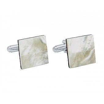 Män - manschettknappar - 925 Silver - pärlemor - vit - 16 mm