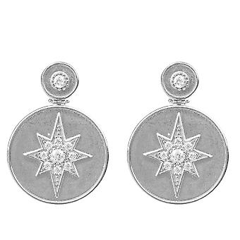 Star Burst Brushed Metal Coin Drop Earring silver