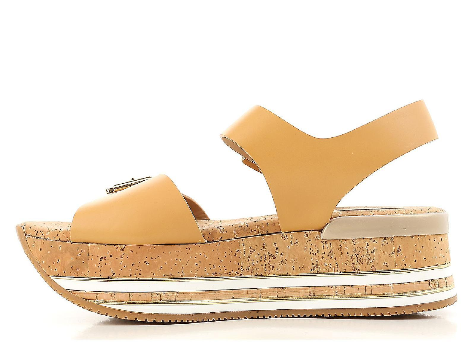Hogan Hogan Hogan flat wedges sandals shoes in tan leather b60b87