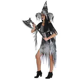 Zombie witch costume black white for ladies