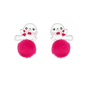 Seal - 925 Sterling Silver Colourful Ear Studs - W37155x
