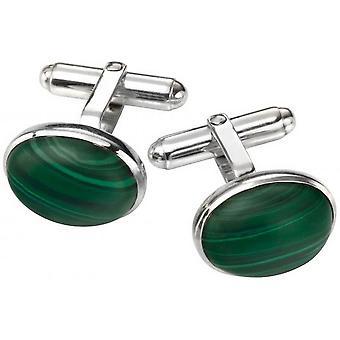 Början malakit Oval manschettknappar - grön/Silver