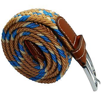 Bassin and Brown Cross Stripe Woven Elasticated Belt - Beige/Blue/White