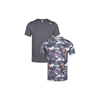 Reebok Fitness Herren 2er-Pack Leistung Sport T-Shirt Camo Print schlicht Grant
