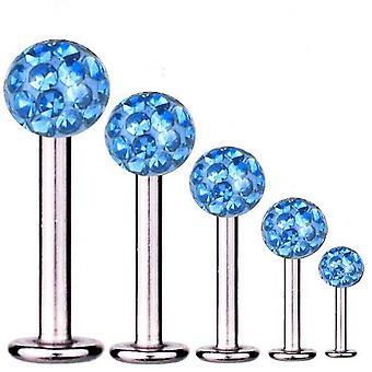 Labret Bar Tragus Piercing Titan 1,6 mm, Multi Kristall Kugel hellblau | 5-16