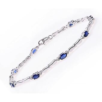 Star Wedding Rings Sterling Silver Bracelet Set With Blue Sapphire Gem Stone And Diamonds