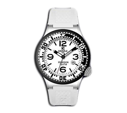 Waooh - 720 3069 Kienzle Watch for Women - White Silicone Bracelet - White Dial - Black & Metal box - black & silver bezel