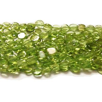 Strand 60+ Green Peridot Approx 3-5mm Plain Coin Handcut Beads DW1705