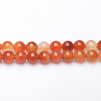 ستراند 45 + العقيق أبيض اللون البرتقالي/8 مم عادي الخرز جولة GS17712-3