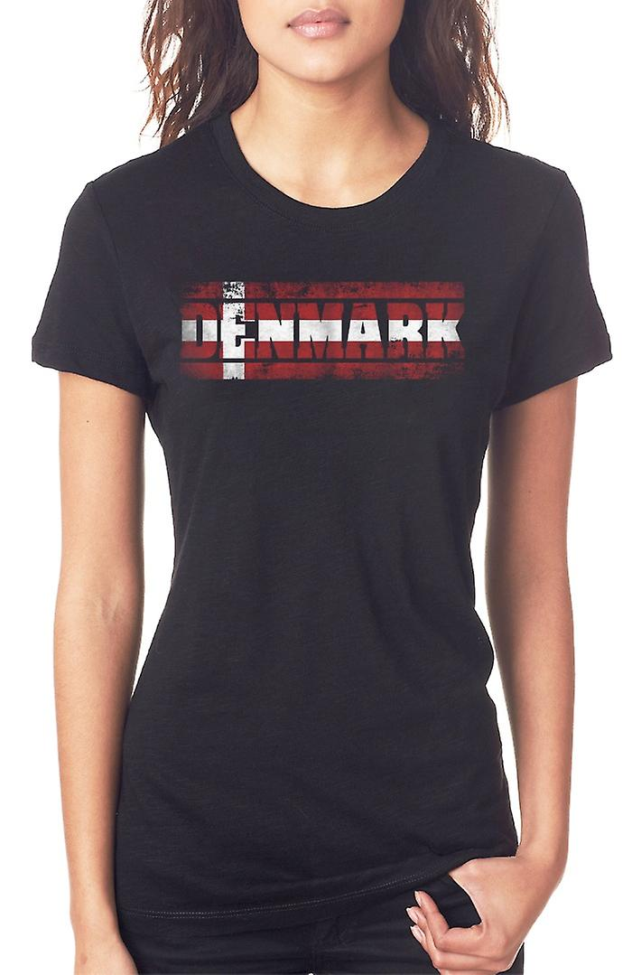 Denmark Danish Flag - Words Ladies T Shirt