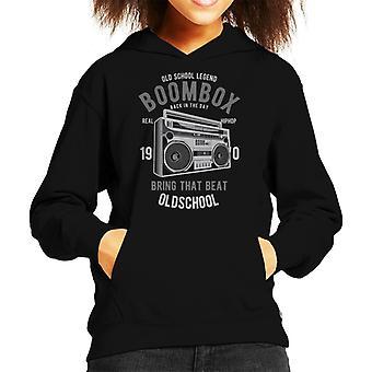 Real Hiphop Boombox Old School Kid's Hooded Sweatshirt