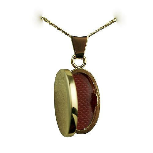 18ct Gold 18x11mm plain oval Locket with a curb chain