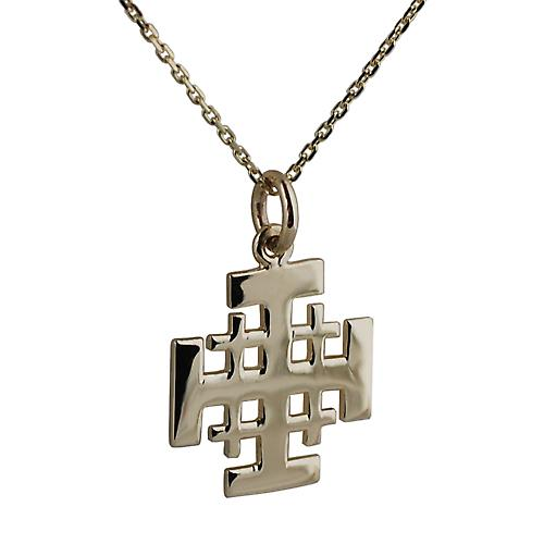 9ct Gold 19mm Jerusalem Cross with a cable Chain 16 inches Only Suitable for Children
