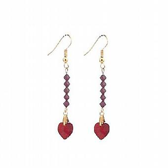 Siam Red Crystal Heart Dangling Earrings 22k Gold Plated Earrings