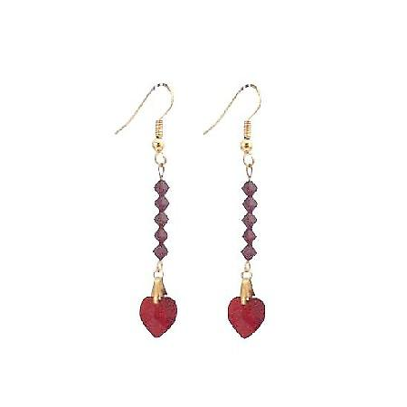 Siam Red Crystal Heart Dangling Earrings 22k Gold Plated Earrings