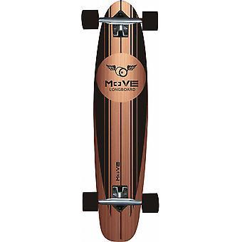 Mueva Longboard Pin Tail: Negro de madera de 107 cm / ABEC7 (991505)