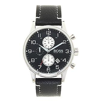 Hugo Boss 1512569 Black Dial Black Leather Chronograph Men's Watch
