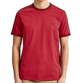 Fred Perry M3519 Ringer T-Shirt Rich rood